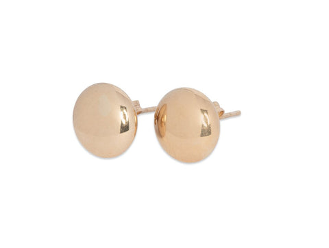 Flattened Button Stud Earrings