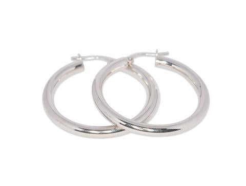 Italian Plain Hoop Earrings 3mm Tube