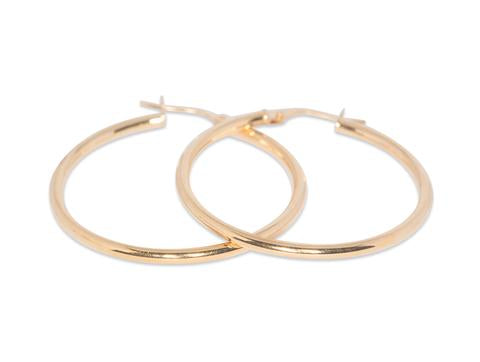 Italian Plain Hoop Earrings 2mm Tube
