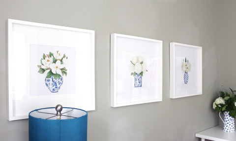 blue and white decor - home office - ribba frames - ikea frames - elizabeth rose designs