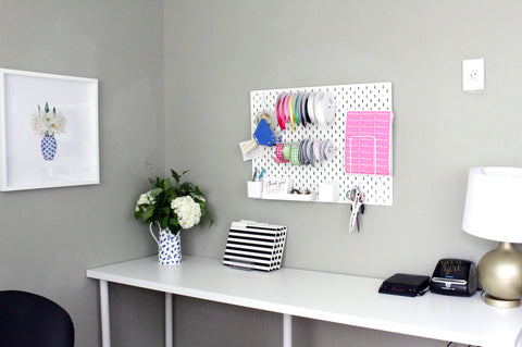 Ikea Pegboard - Home Office Decor - Elizabeth Rose Designs - Gray Walls