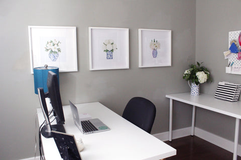 Blue and White Floral Prints Office Decor - Elizabeth Rose Designs
