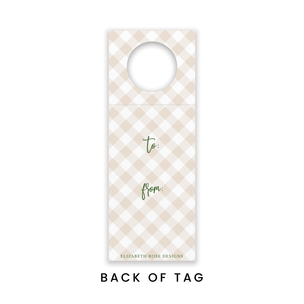 Christmas Deer Wine Tag {Set of 3} - Elizabeth Rose Designs - Monograms, Stationery, & Personalized Gifts