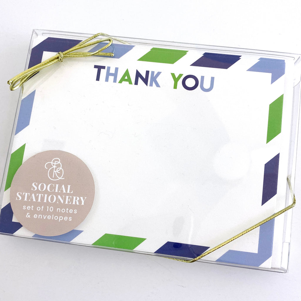 Thank You Boy Stripes Stationery Set - Elizabeth Rose Designs - Monograms, Stationery, & Personalized Gifts