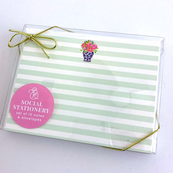 Floral Stripes Stationery Set - Elizabeth Rose Designs - Monograms, Stationery, & Personalized Gifts