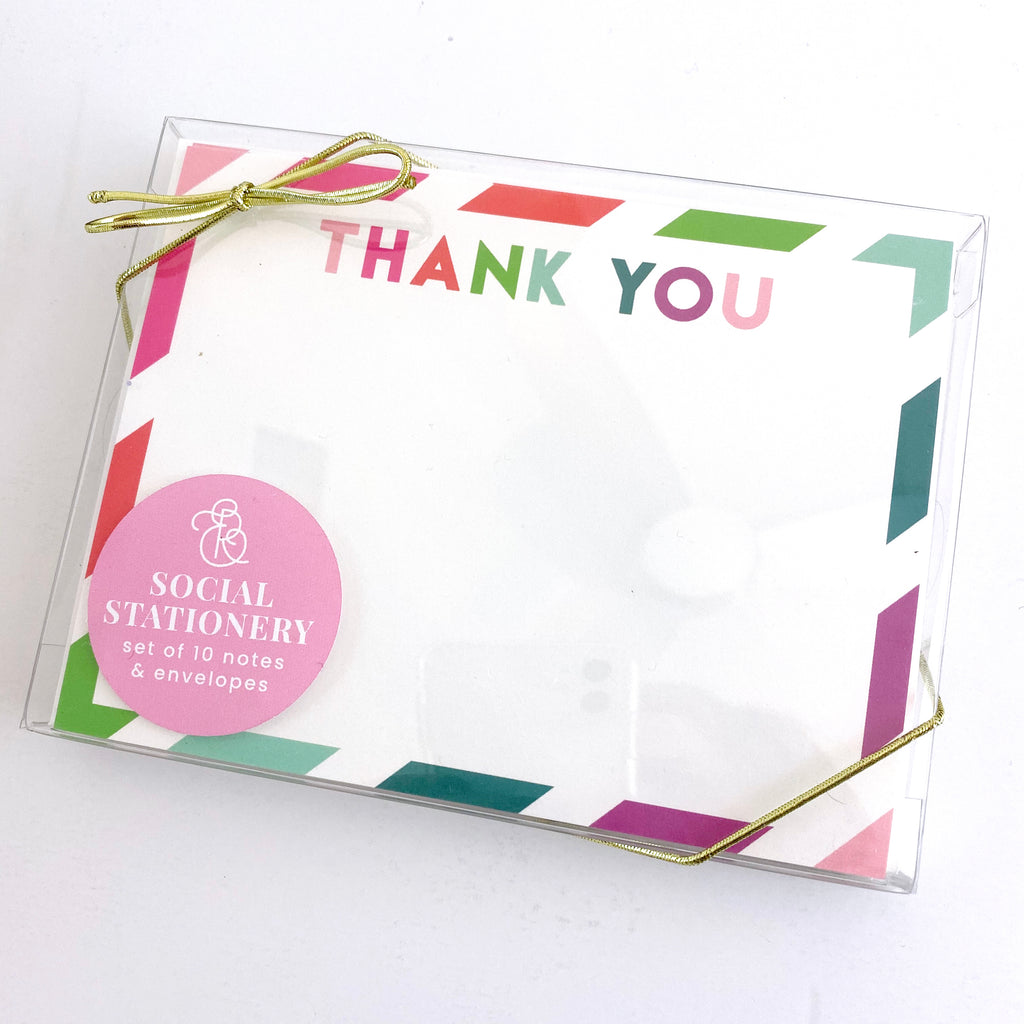 Thank You Colorful Stripes Stationery Set - Elizabeth Rose Designs - Monograms, Stationery, & Personalized Gifts