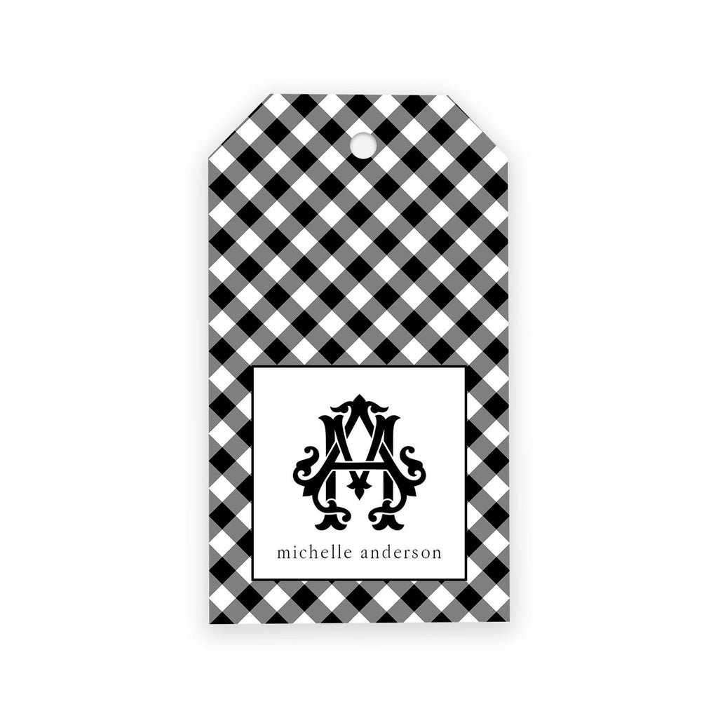 Black Gingham Monogram Gift Tags - Elizabeth Rose Designs - Monograms, Stationery, & Personalized Gifts