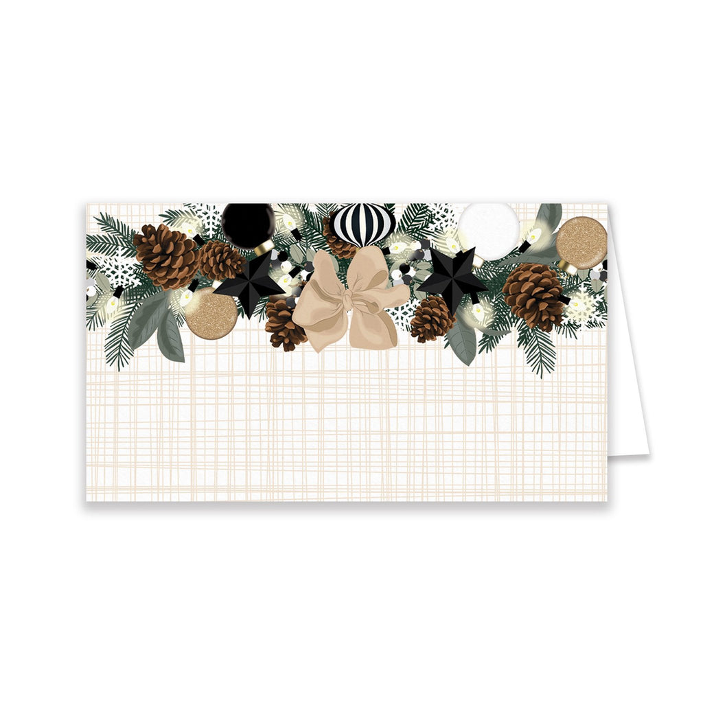 Black + White Holiday Garland Place Cards - Elizabeth Rose Designs - Monograms, Stationery, & Personalized Gifts