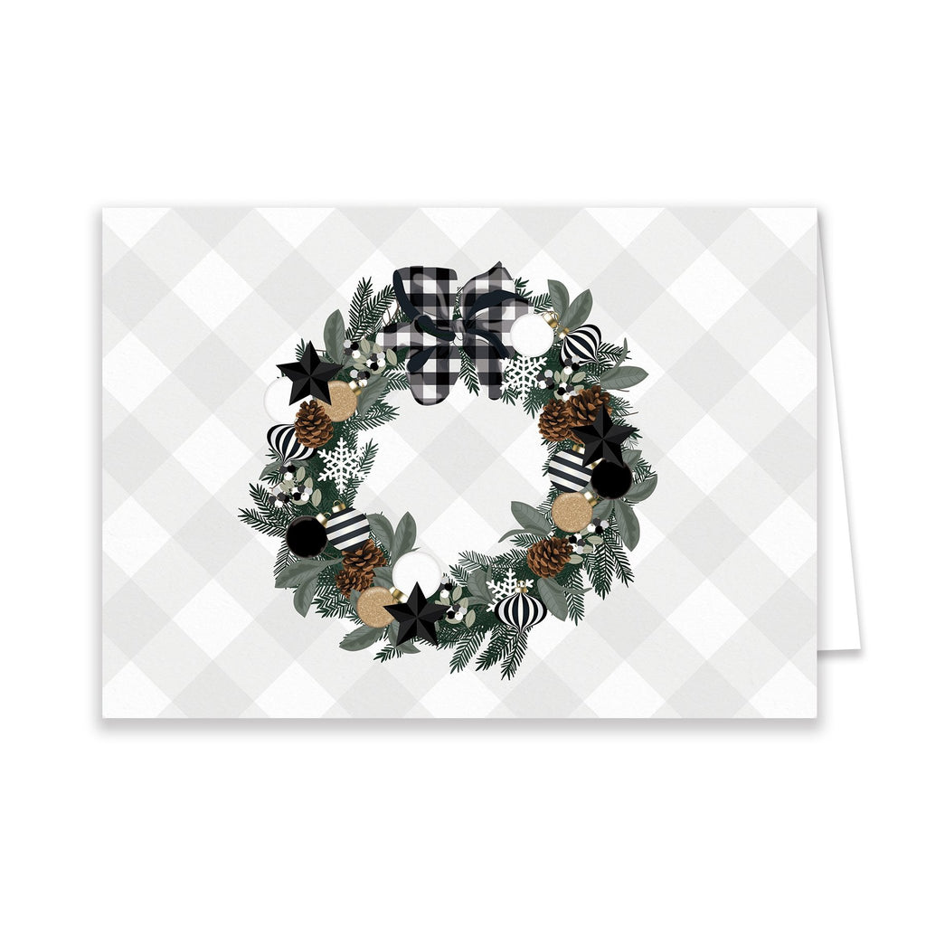 Black + White Wreath Greeting Card - Elizabeth Rose Designs - Monograms, Stationery, & Personalized Gifts