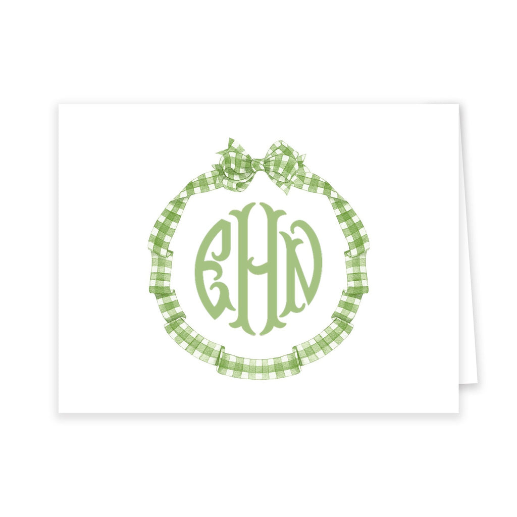 Gingham Bow Monogram Notecard Set - Elizabeth Rose Designs - Monograms, Stationery, & Personalized Gifts