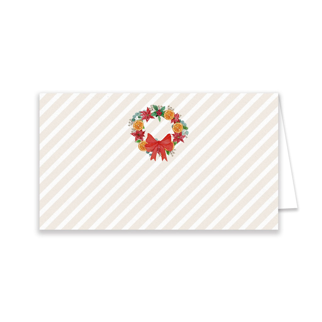 Orange Poinsettia Wreath Place Cards - Elizabeth Rose Designs - Monograms, Stationery, & Personalized Gifts