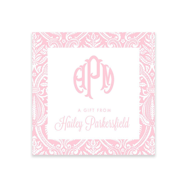 Monogram Preppy Pink  Gift Tags or Stickers - Elizabeth Rose Designs - Monograms, Stationery, & Personalized Gifts