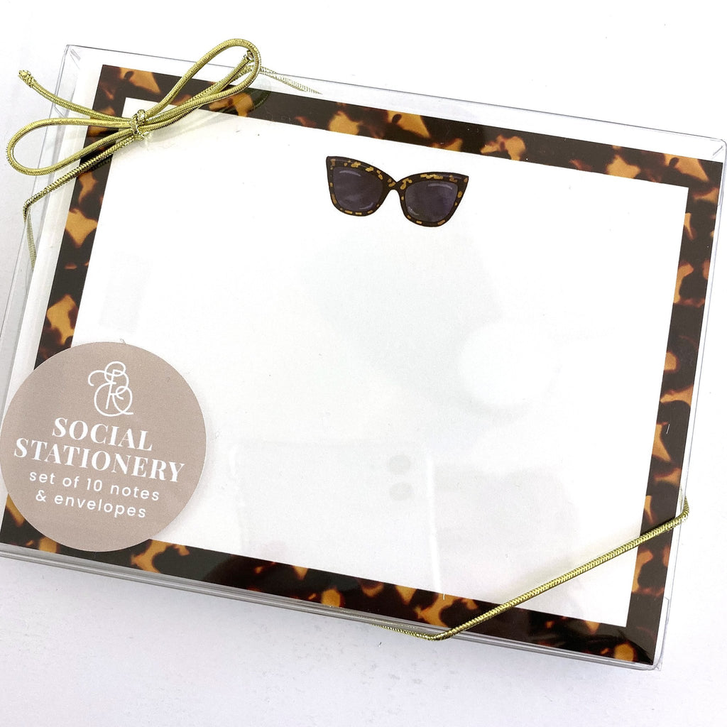 Tortoise Shell Sunnies Stationery Set - Elizabeth Rose Designs - Monograms, Stationery, & Personalized Gifts