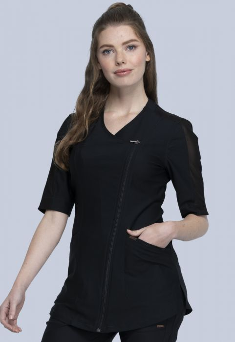 Cherokee Form Zip Front Top