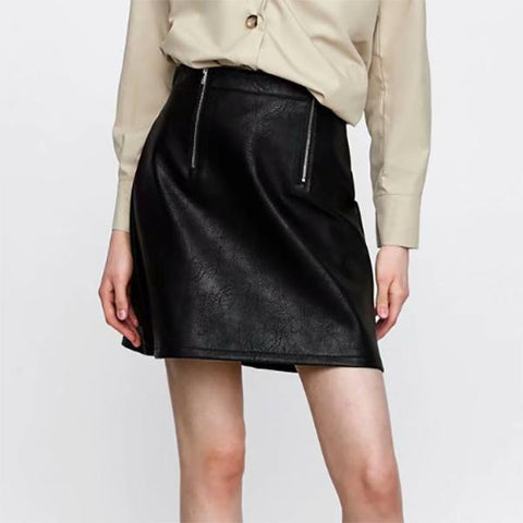 Sexy Zipper Leather Plain Skirt