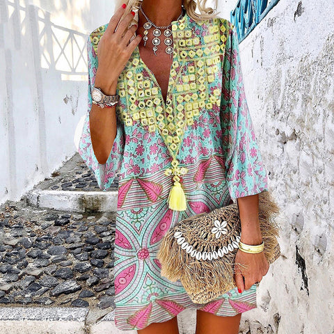 Fashion Deep V-neck Abstract Style Print Long Sleeve Dress