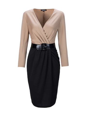 Deep V-Neck  Belt  Color Block Bodycon Dresses