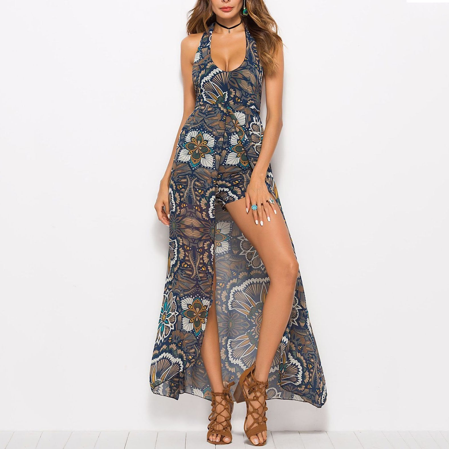 Bohemian Retro Printing Sleeveless Backless Beach Vacation Dress
