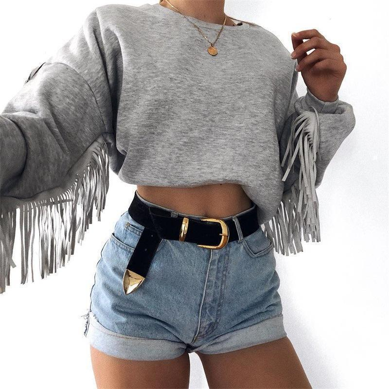 Fringed Round Neck Long Sleeve Sweatshirt