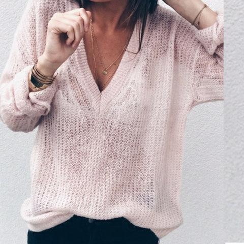 Sexy Deep V-Neck Bottoming Sweater
