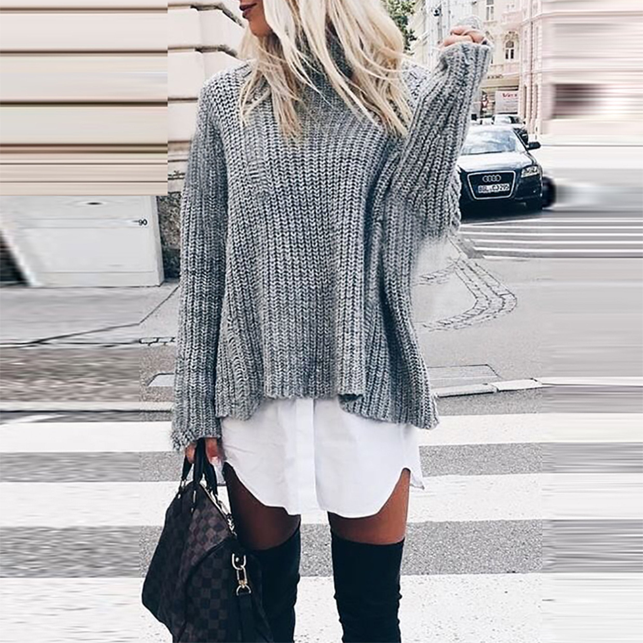 Loose Round Neck Trumpet Sleeve Knit Wool Sweater