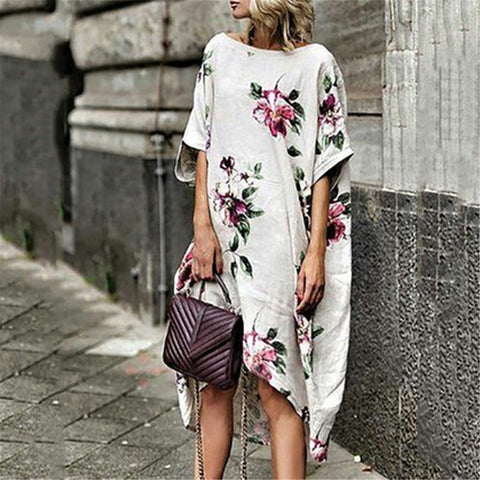 Summer Roun Neck Printed Loose Batwing Sleeve Dress