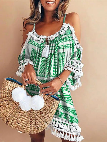 Crew Neck Summer Dresses Shift Fringed Paneled Dresses Cold Shoulder Dress