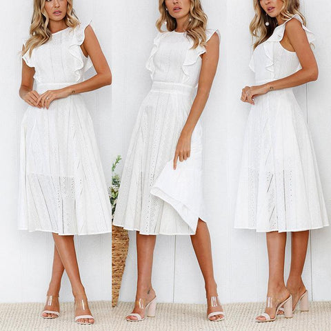 Fashion Ruffled Zipper Irregular Round Neck Lace Dress