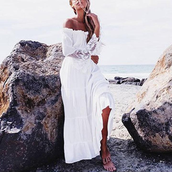 Lace Stitching Off-The-Shoulder Beach Dress