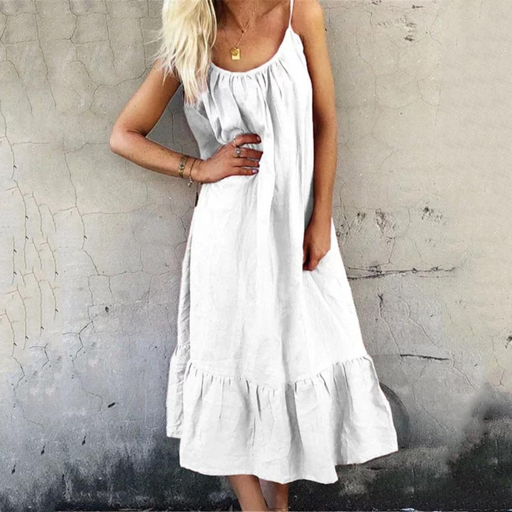 Casual Round Neck Sleeveless Loose Maxi Dress