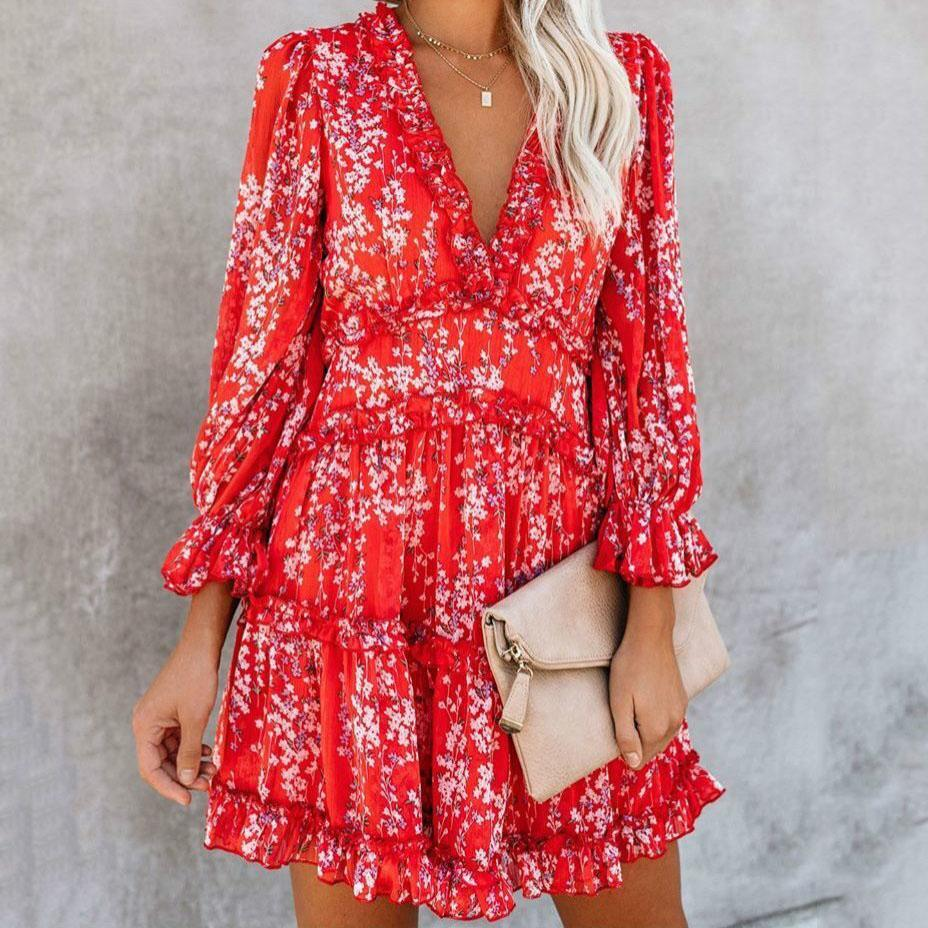 Printed V-Neck Halter Sexy Beach Dress