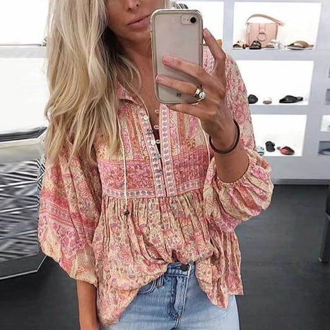 Bohemian Printed Pleated Top Blouse