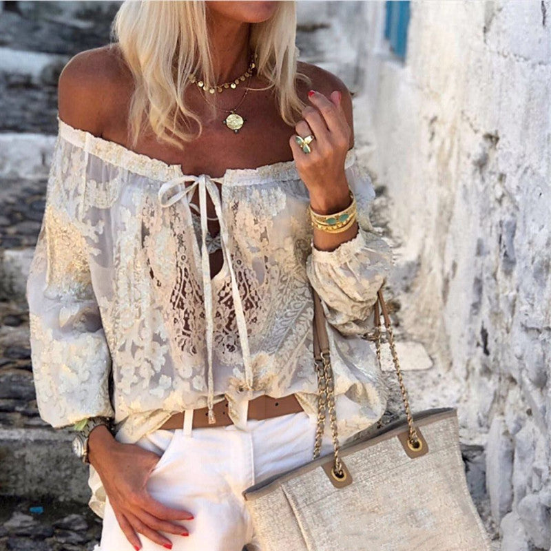 Bohemian Printed Sexy Word Collar Ruffled Long-Sleeved T-Shirts