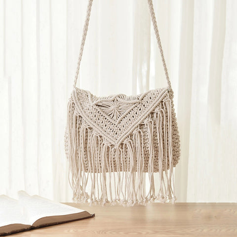 Pastoral Style Tassels Hollowed-Out Knitted Bag Messenger Bag