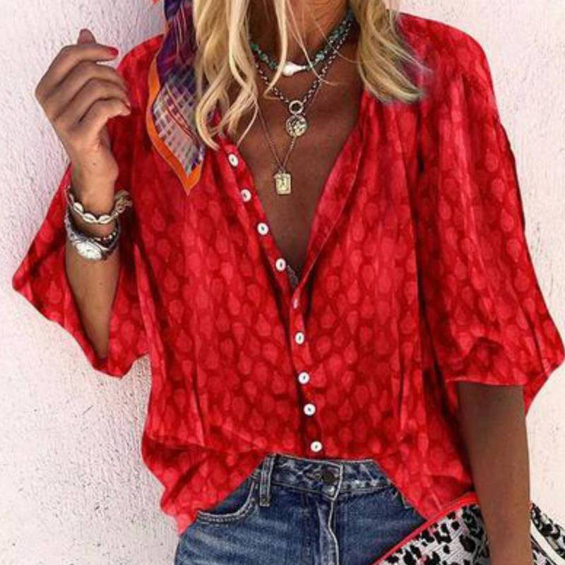 Women's Puff Sleeve Polka Dot Shirt