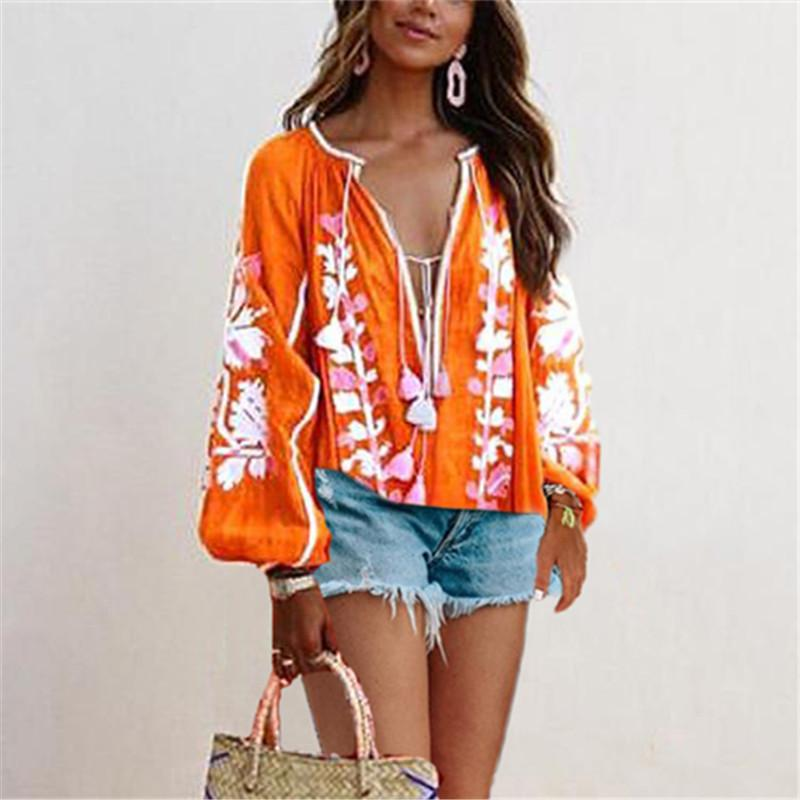 Boho Casual Printed Long Lantern Sleeve Lace-Up Shirt