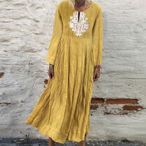 Casual V Neck Pure Colour Embroidery Loose Dress