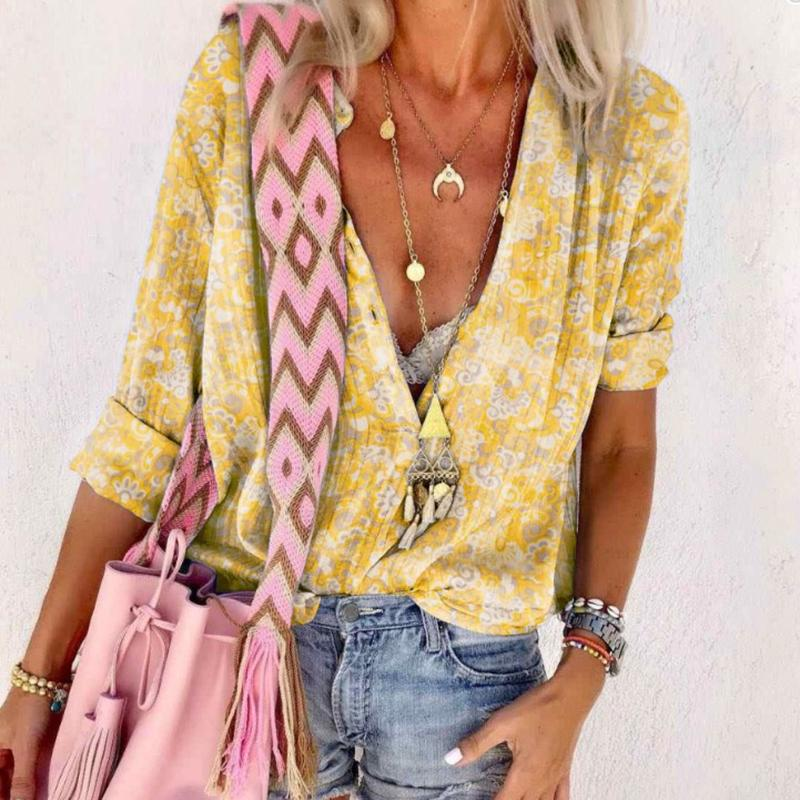 Casual Deep V Neck With Buttons Long Sleeve Printed Blouse