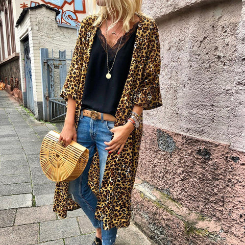 Casual Leopard Printed Three-Quarter Sleeve Cardigan