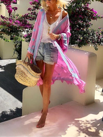 Fashion Solid Color Printed Ruffled Cardigan