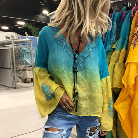 Casual Loose Lace Gradient Printed Bell Sleeve Blouse