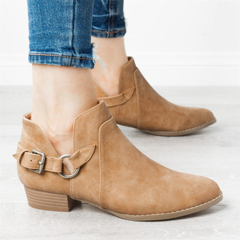 Booties and ankle boots belt buckle round head single boots