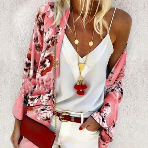 Casual Floral Printed Long Sleeve Loose Cardigan