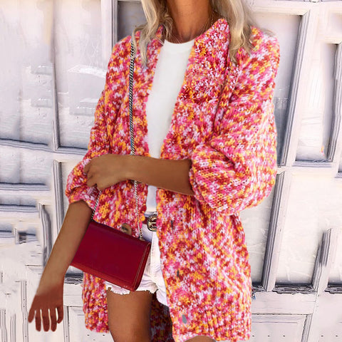 Women's Casual Printed Color Long Sleeve Single-Breasted Loose Cardigan