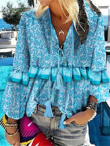 Casual Vacation Fringed Lace-up Stringy Selvedge Long Sleeve Printed Shirt