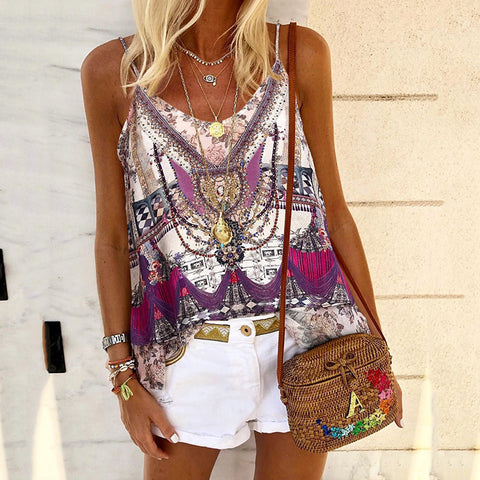 Casual abstract style print suspenders T-shirt