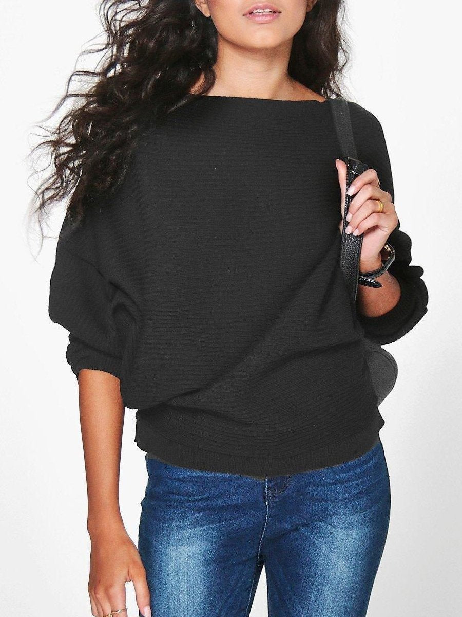 Women Loose Knitted Bat-Wing Sleeve Casual Jumper Type Sweater T-Shirts