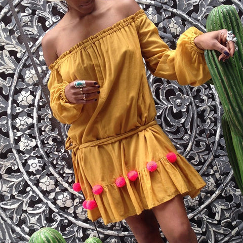 Beach Long Sleeve Boat Collar Pure Color Dress