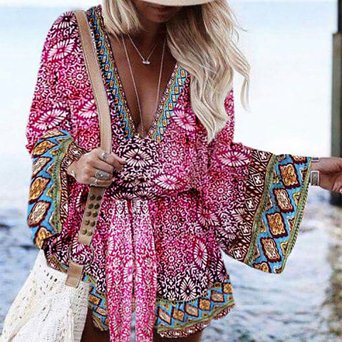 Women's Bohemian Deep V-Neck Bell Sleeve Printed Color Loose Dress