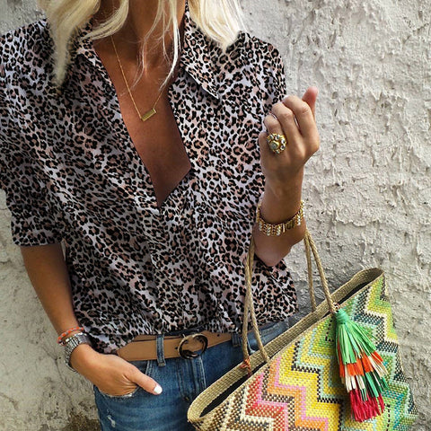 Fashion fold-over collar leopard print shirt
